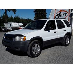 I4 --  2003 FORD ESCAPE XLT , White , 184475  KM's