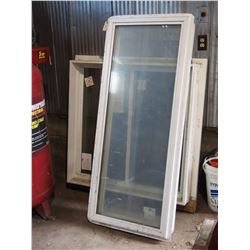 """2 Plastic Edged Windows 42"""" by 42""""  and 24"""" by 60"""""""