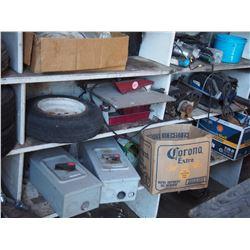 Shelving Unit w/ Contents of Various Items: Cables, Filters, Motors, Bottle Tacks, Utility Rims etc