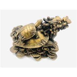 Brass Feng Shui Turtle On Top Of Dragon