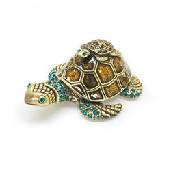 Enameled & Bejeweled Mother & Baby Sea Turtle Ring Box