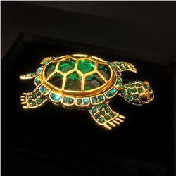 Green Semi Precious Stone Turtle Brooch