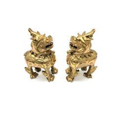 Pair Of Asian Brass Foo Dog Flip Top Incense Burners