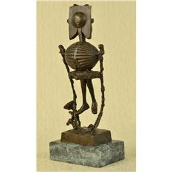 """Skeleton Sunshine Picasso Style Bronze Metal Sculpture Abstract Cubism Modernism 16"""" x 6"""""""