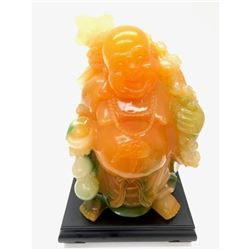 Vintage Orange And Green Laughing Buddha Sculpture With Black Wood Base