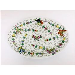 Chinese Floral Butterfly Painted Plate