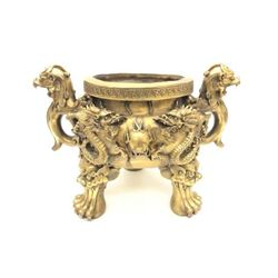 Large Two-Handled Foo Dog & Dragon Decorated Lion Footed Brass Censor