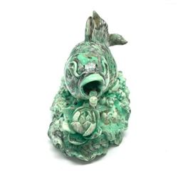 Large Green Surfacing Carved Choe Fish