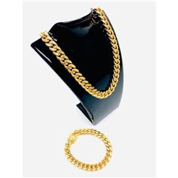 Mens 18K Gold Plated Cuban Link Necklace And Bracelet Combo