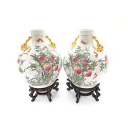 Large Pair Of Bulbous Oriental Gilt Finial 'Nine Peaches' Vases On Stands