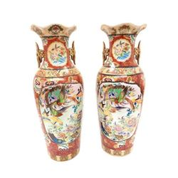 Large Pair Of Hand Painted Japanese Satsuma Vases