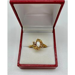 Ladies .10ct Marquise Cut White opal set in 18K Gold Plated Ring