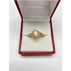 Ladies .13ct Pear Cut White Opal set in 18K Gold Plated Ring