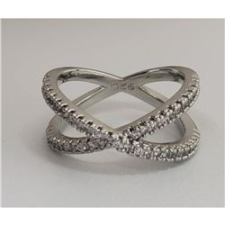 Sterling Silver 925 CZ Rhinestone Crossband Ring