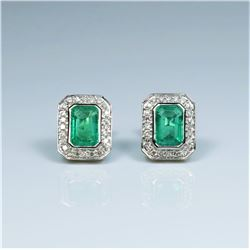 20CAI-3 COLOMBIAN EMERALD & DIAMOND EARRINGS