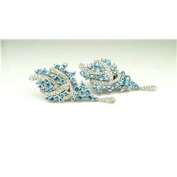 20CAI-2 DIAMOND & BLUE ZIRCON EARRINGS