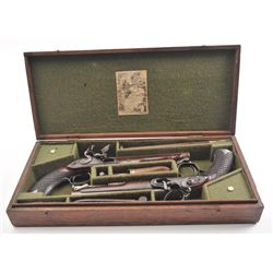 20FD-106 PROSSER FLINTLOCK OFF. PISTOLS CASED