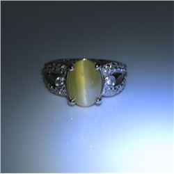 20CAI-16 CHRYSOBERYL CATS EYE & DIAMOND RING