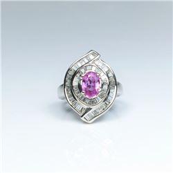 20CAI-17 PINK SAPPHIRE & DIAMOND RING