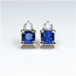 20CAI-29 BLUE SAPPHIRE & DIAMOND EARRINGS
