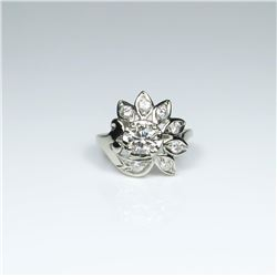 20CAI-33 VINTAGE FLORAL MOTIF DIAMOND RING