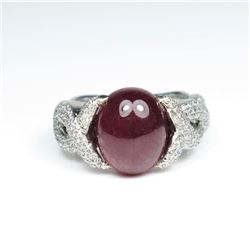 20CAI-34 CABOCHON RUBY & DIAMOND RING