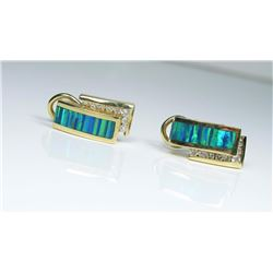 20CAI-35 BLACK OPAL & DIAMOND EARRINGS