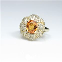 20CAI-38 MANDARIN GARNET & DIAMOND RING