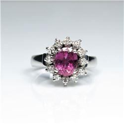 20CAI-39 PINK SAPPHIRE & DIAMOND RING