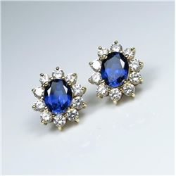 20CAI-63 WHITE & BLUE SAPPHIRE EARRINGS