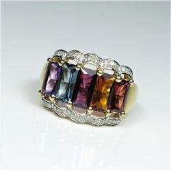20CAI-50 MULTI-GEM & DIAMOND RING