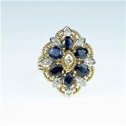 20CAI-55 ROYAL BLUE SAPPHIRE & DIAMOND RING