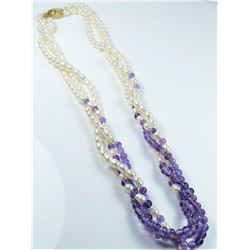 20CAI-56 AMETHYST & PEARL NECKLACE
