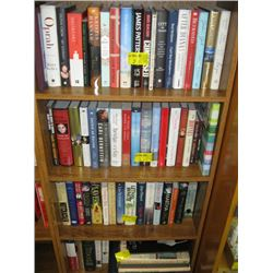 5 SHELVES OF ASSORTED HARD COVER BOOKS