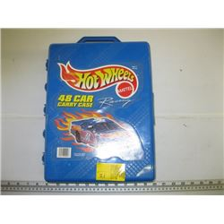 HOT WHEELS CASE WITH APPROX 48 HOT WHEELS CARS