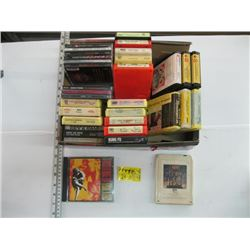 BOX OF MISC 8 TRACK TAPES, CDS & CASSETTE TAPES