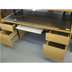 DOUBLE PEDESTAL DESK WITH KEYBOARD SLIDE OUT