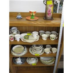 A LOT OF ASSORTED DISHES, PLATES, CUPS, BOWLS ETC.
