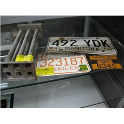 3 LICENCE PLATES, CANDLE MOLD