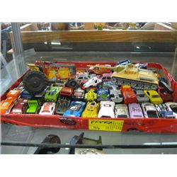 BOX OF ASSORTED SMALL HOT WHEELS CARS, TRACTOR & TANK