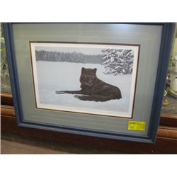 "NUMBERED FRAMED PRINT TITLED ""BLACK & WHITE OF A BLACK WOLF"" BY WAYNE MONDOK - 1990  204 OF 295"