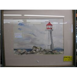 "FRAMED WATERCOLOR OF ""LIGHTHOUSE"" BY J. DEPEW"