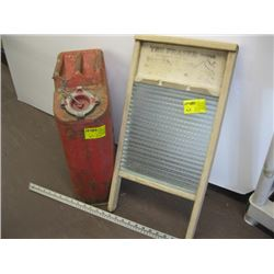 GLASS WASHBOARD, METAL RED FUEL CAN