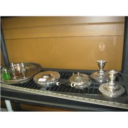 A LOT OF SILVER PLATE SERVING TRAY, SALT/PEPPER, CANDLE HOLDERS, ETC.