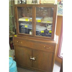 GLASS DOORED HUTCH TOP CHINA CABINET