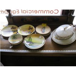 A LOT OF 4 NIPPON BOWLS, 3 HUMMEL COLLECTOR PLATES, TUREEN & PLATTER