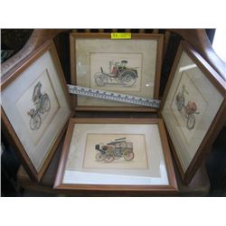"SET OF 4 FRAMED PRINTS OF ""THE EARLY MOTORIZED VEHICLES"""