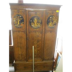 LARGE WARDROBE WITH ASIAN CARVINGS AND DRAWER ON BOTTOM