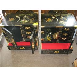 2 LACQUER FINISHED NIGHT STANDS WITH ASIAN MOTIF & BRASS HINGES