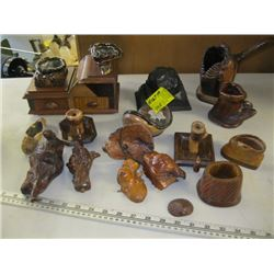 A LOT OF SMALL WOODEN CARVINGS, SMALL WOODEN JEWELRY BOX